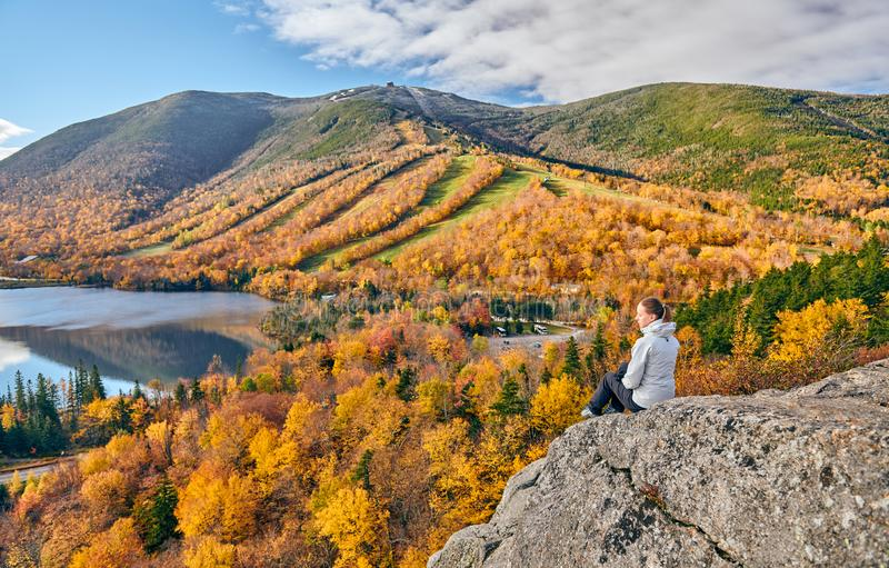 Woman hiking at Artist`s Bluff in autumn stock photos