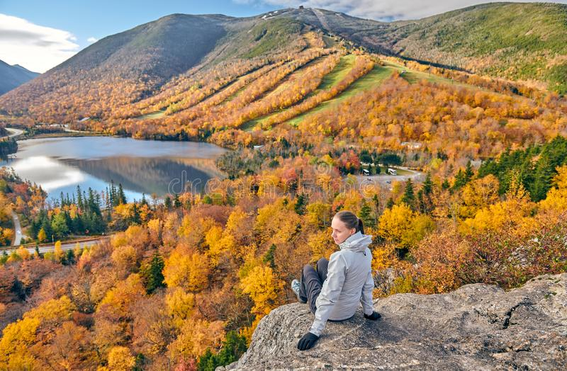 Woman hiking at Artist`s Bluff in autumn royalty free stock photography