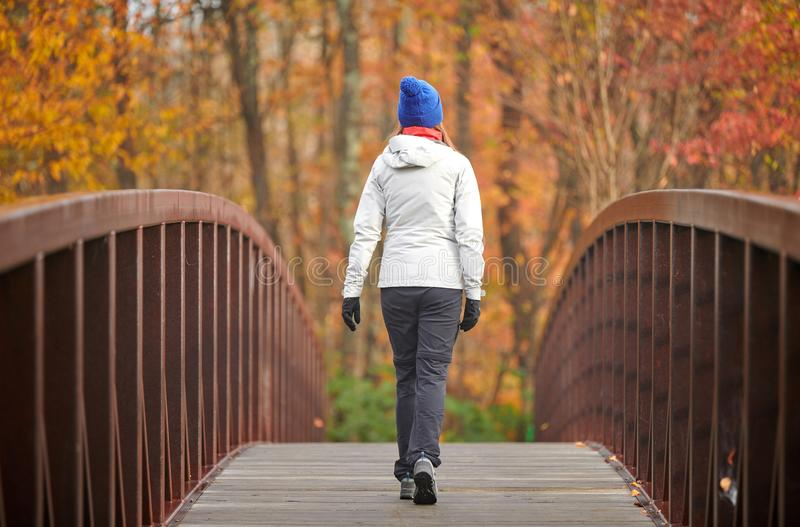 Woman hiking at autumn day royalty free stock image