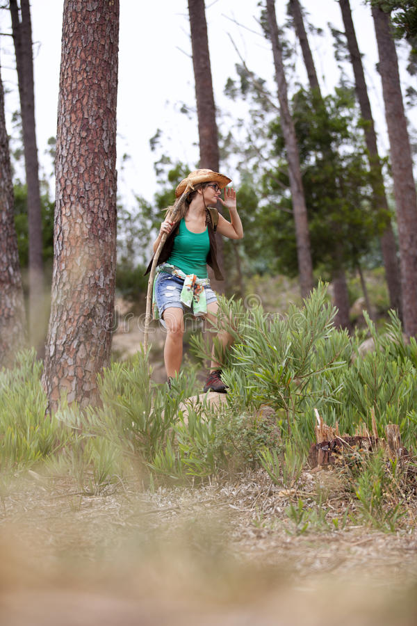 Woman hiking at the forest stock photos