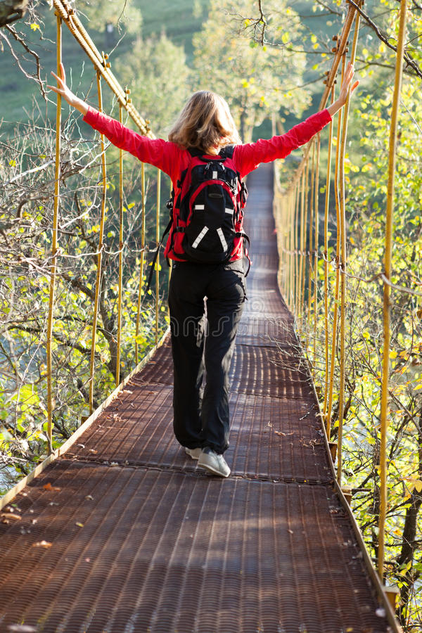 Free Woman Hiking In Suspension Bridge Royalty Free Stock Photo - 27316215