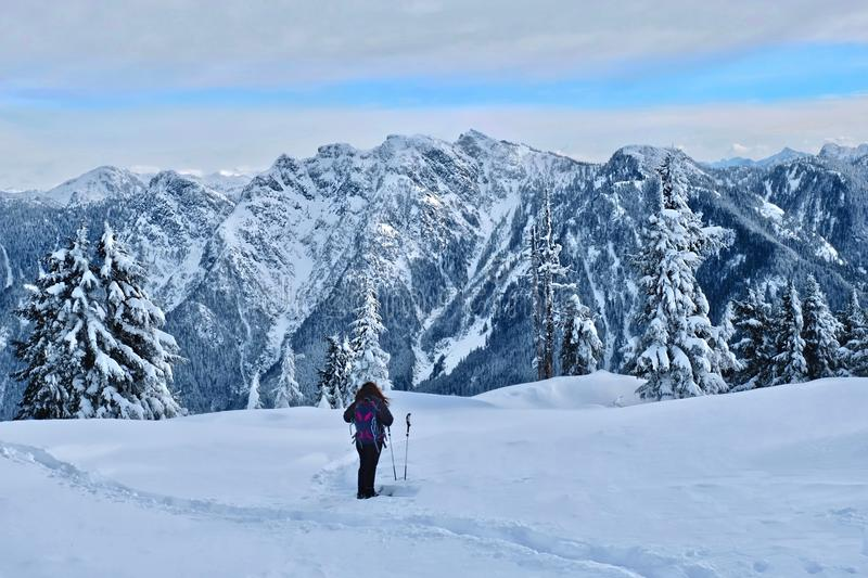 Woman hiking in North Shore mountains near Vancouver. stock image