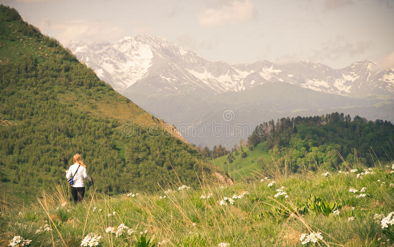Woman hiking outdoor Travel Lifestyle concept royalty free stock images