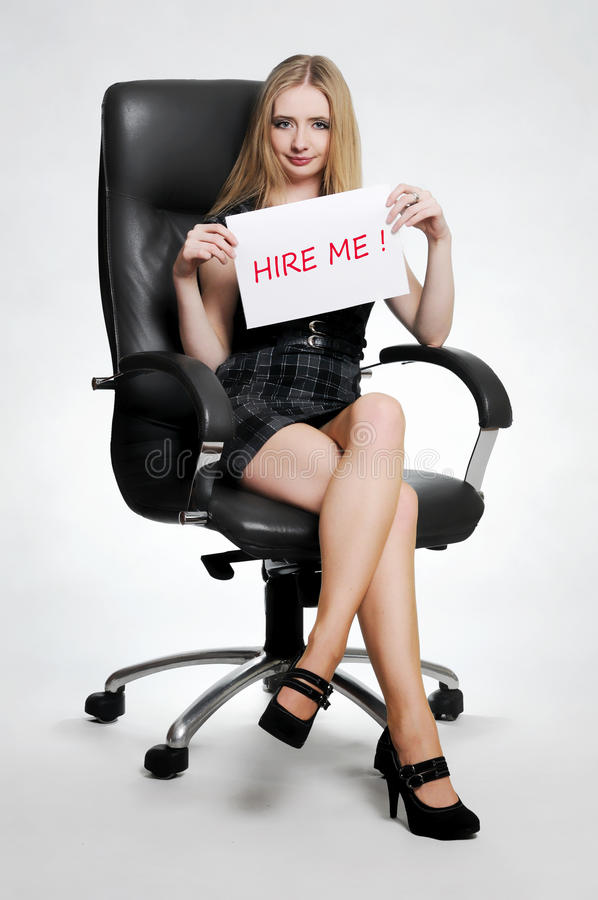 Download Woman with hire me card stock photo. Image of chair, application - 18520196