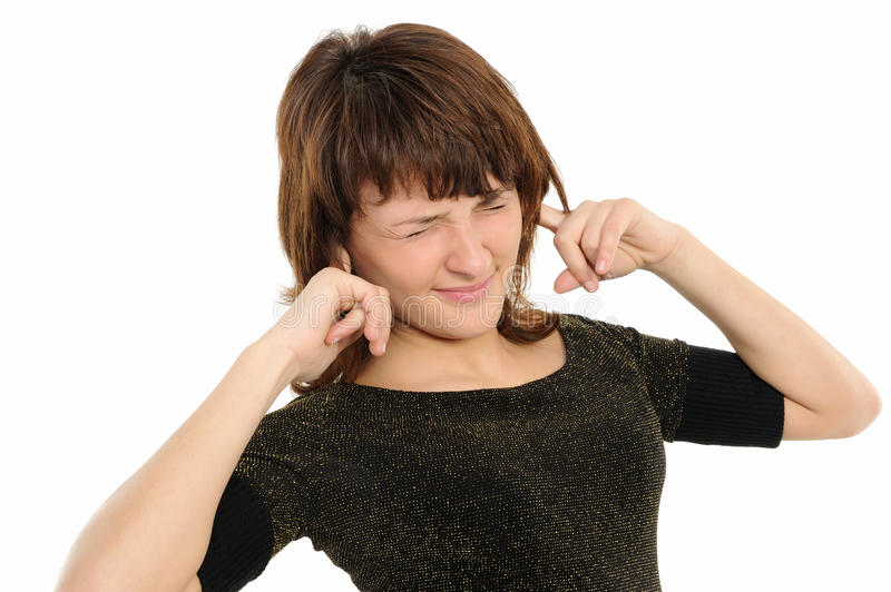 Woman with his hands covering his ears royalty free stock photography