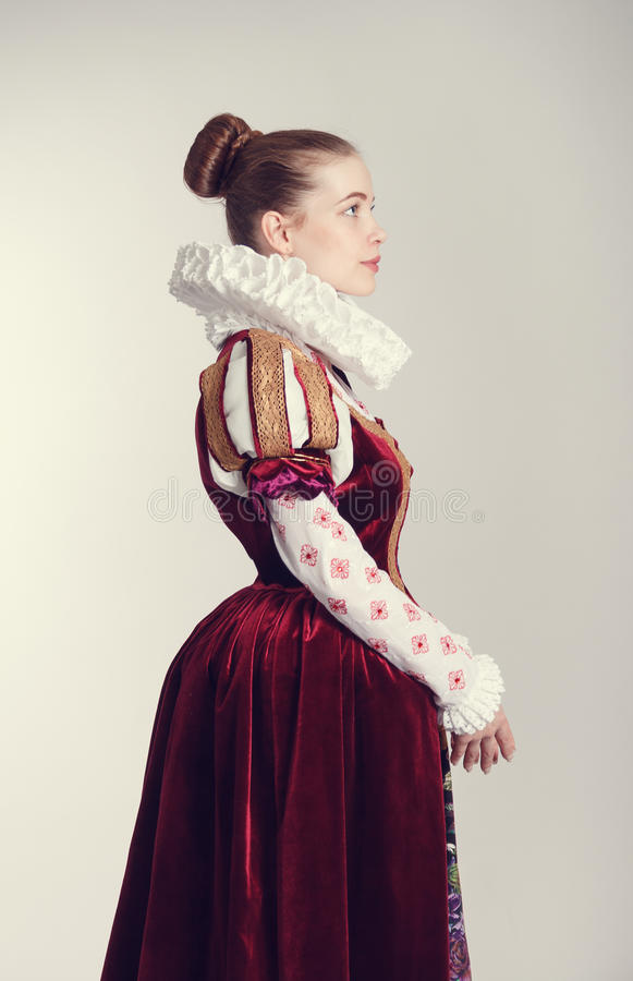 Woman in historical costume. stock image