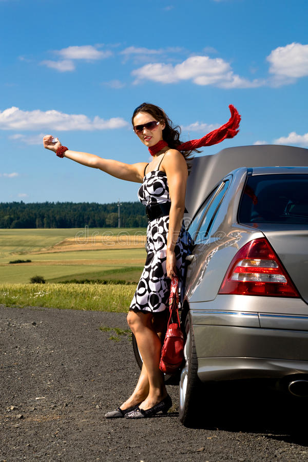 Download Woman hitch-hiking stock image. Image of hitchhiking - 10560519