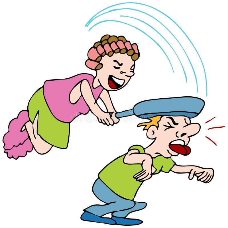 Woman Hitting Man With Frying Pan vector illustration