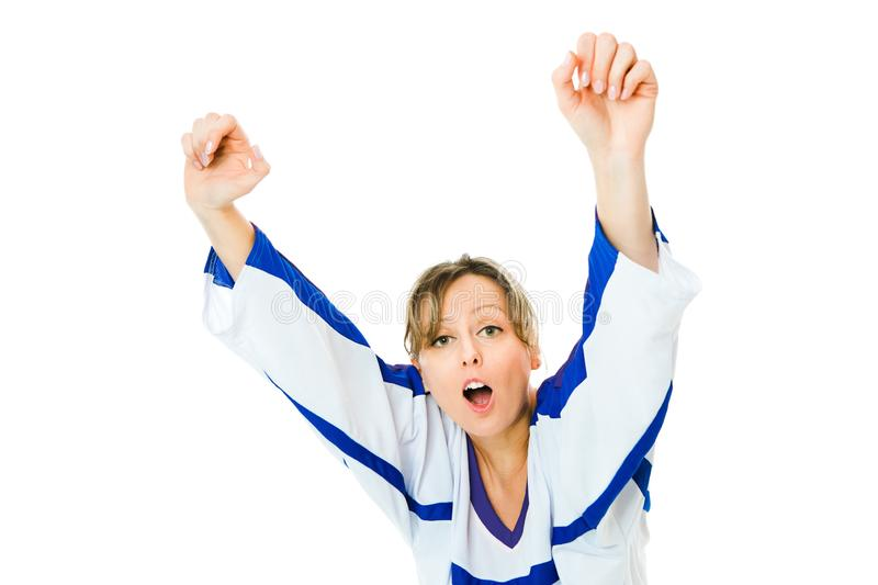 Woman Hockey fan in jersey in national color of Finland cheer, celebrating goal stock image