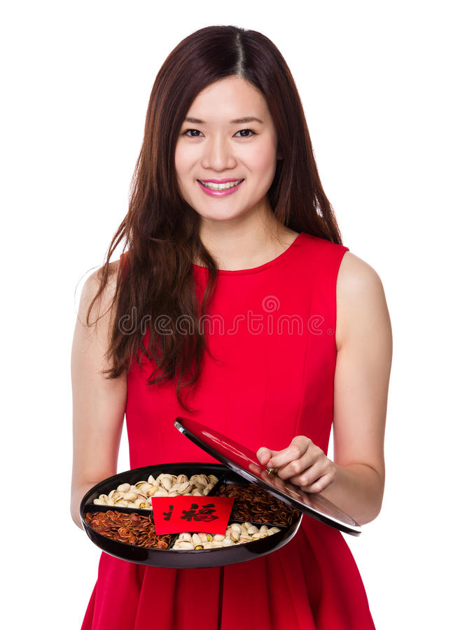 Woman hold with assorted snack tray. Isolated on white background royalty free stock photos