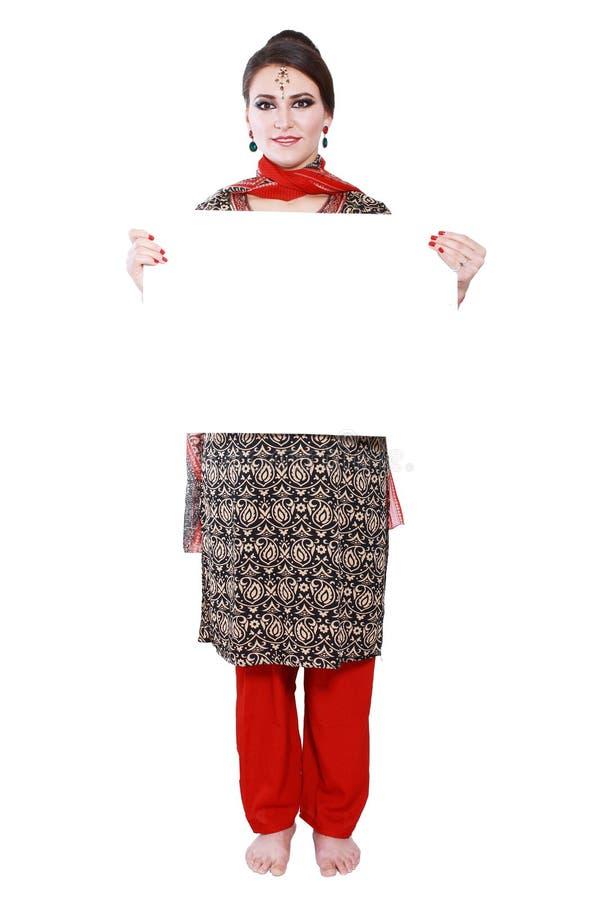 Woman Hold Big Card Stock Image