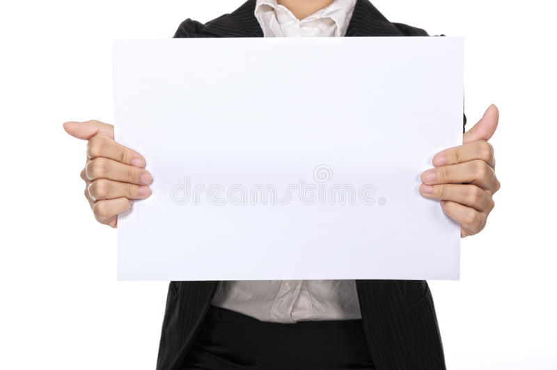 Woman Hold Blank Paper stock image