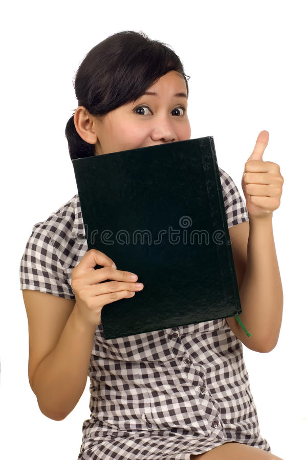 Download Woman Hold Book And Thumb Up Royalty Free Stock Photography - Image: 12949367