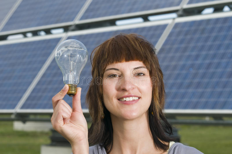 Download Woman hold the bulb stock image. Image of inspiration - 22046533