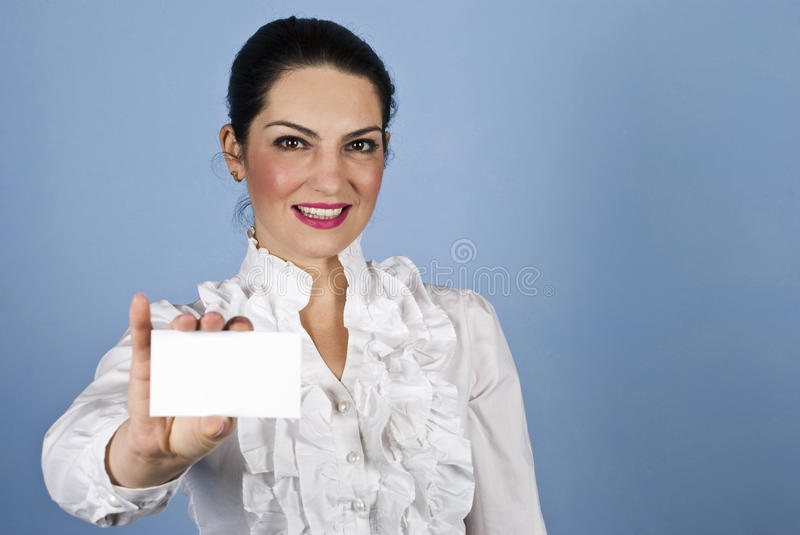 Download Woman hold a business card stock image. Image of copy - 12456521