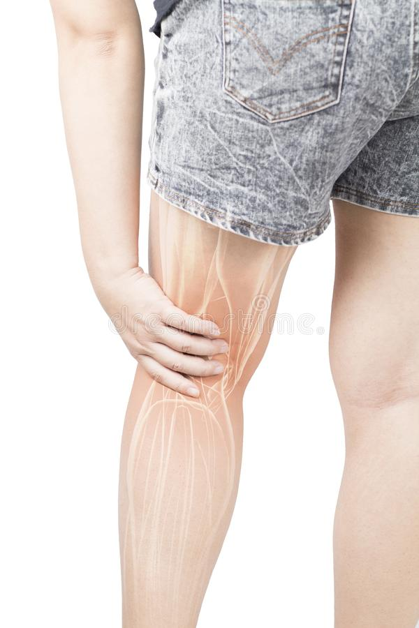 Calf muscle pain. Woman hold calf muscle feel pain white background calf injury royalty free stock image