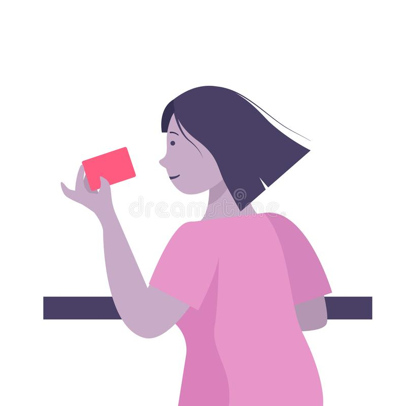 Woman hold credit card, she is paying using a credit card, shopping and retail concept - vector royalty free stock image