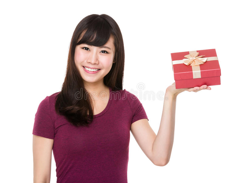 Woman hold with giftbox. Isolated on white background royalty free stock photo