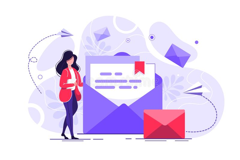 Woman hold mail stock illustration