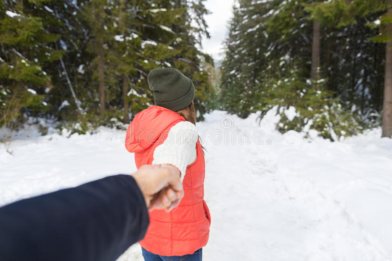 Woman Hold Man Hand Romantic Couple Snow Forest Outdoor Winter Walk stock images