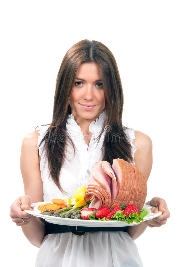 Free Woman Hold Plate Baked Honey Sliced Ham Stock Photo - 19028240