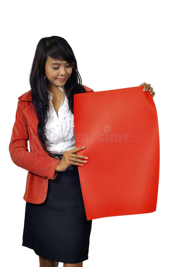 Download Woman Hold Red Banner stock photo. Image of asian, copyspace - 28326000