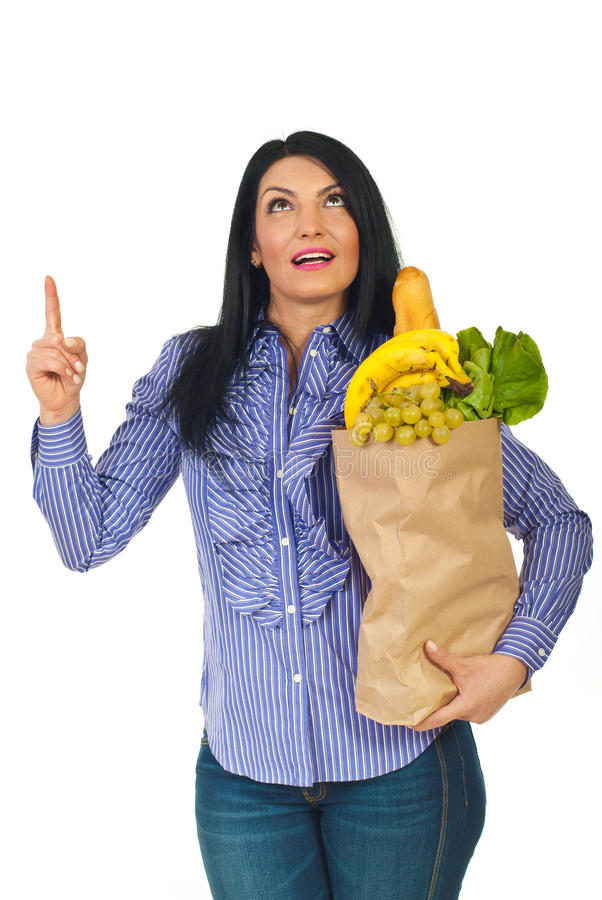 Download Woman Hold Shopping Bag With Food Looking Up Stock Image - Image: 21953691