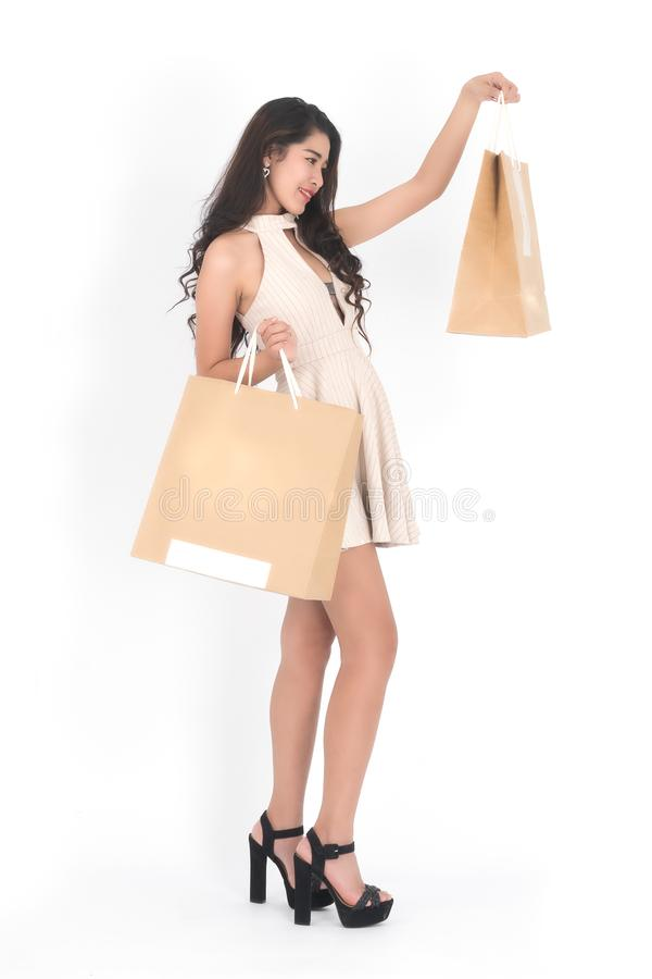 Woman hold shopping bag royalty free stock photos