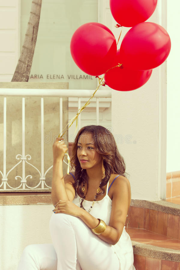 Woman Holding 4 Red Balloon Free Public Domain Cc0 Image