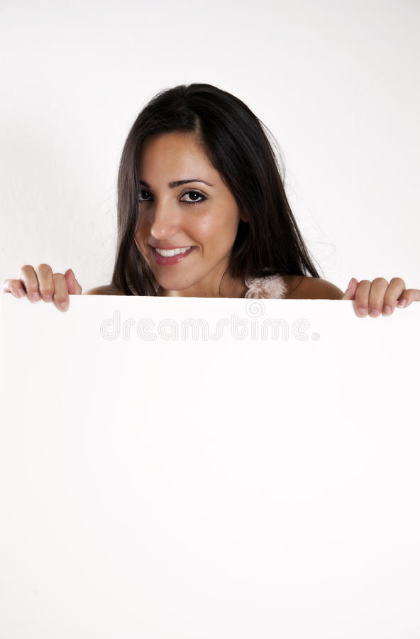 Free Woman Holding A Blank White Sign Royalty Free Stock Images - 16448139
