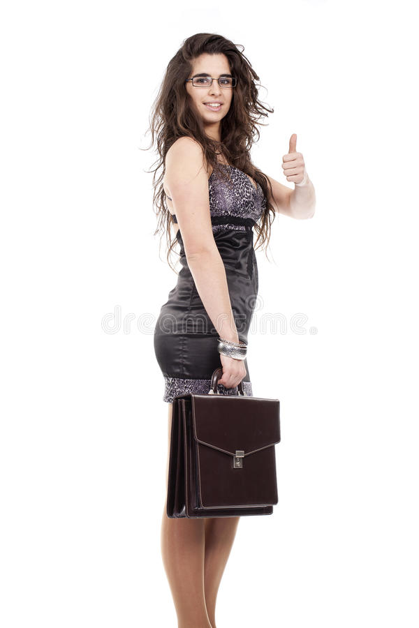 Free Woman Holding A Briefcase And Making Ok Sign Stock Photography - 18208712