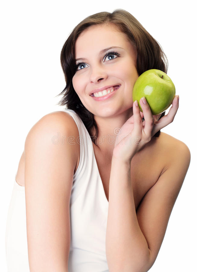 Download Woman Holding Apple Against White Stock Image - Image: 25207799