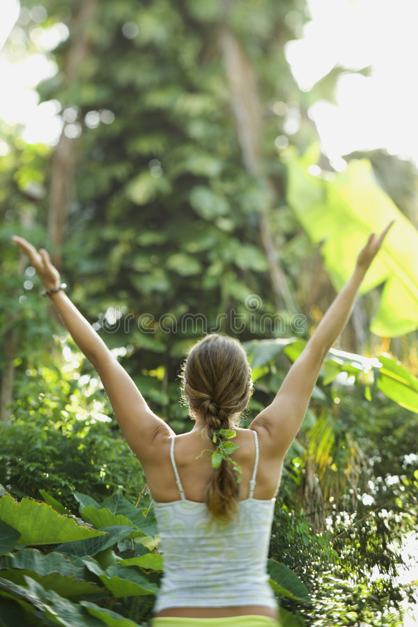 Download Woman holding arms out. stock photo. Image of hawaii, reach - 2038102