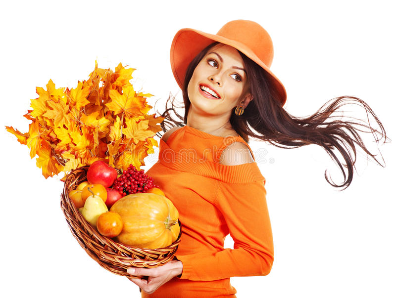 Download Woman Holding Autumn Basket. Stock Image - Image of autumn, happy: 26671675