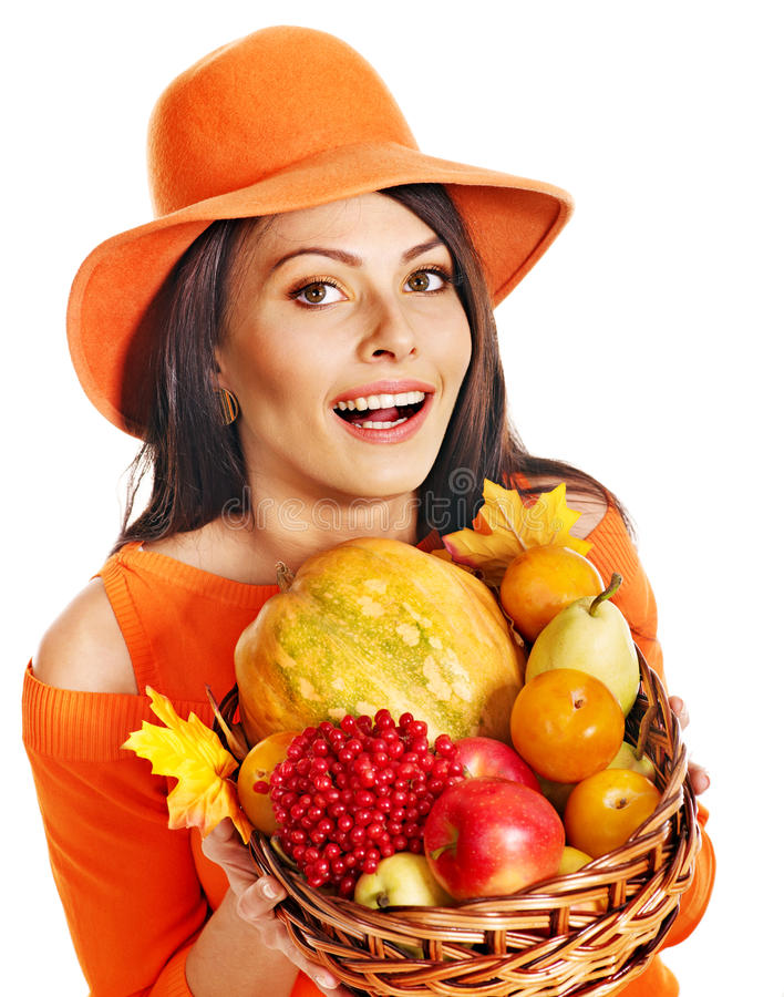 Download Woman Holding Autumn Basket. Stock Image - Image: 26671691