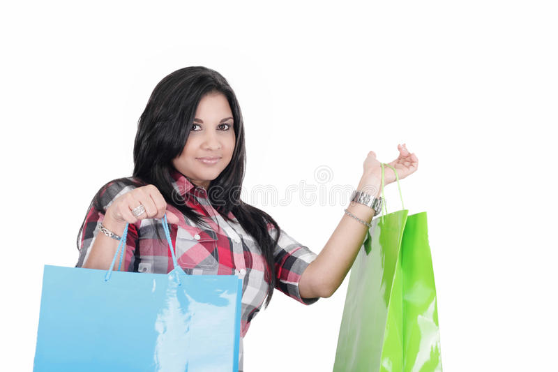 Woman holding bags stock photos