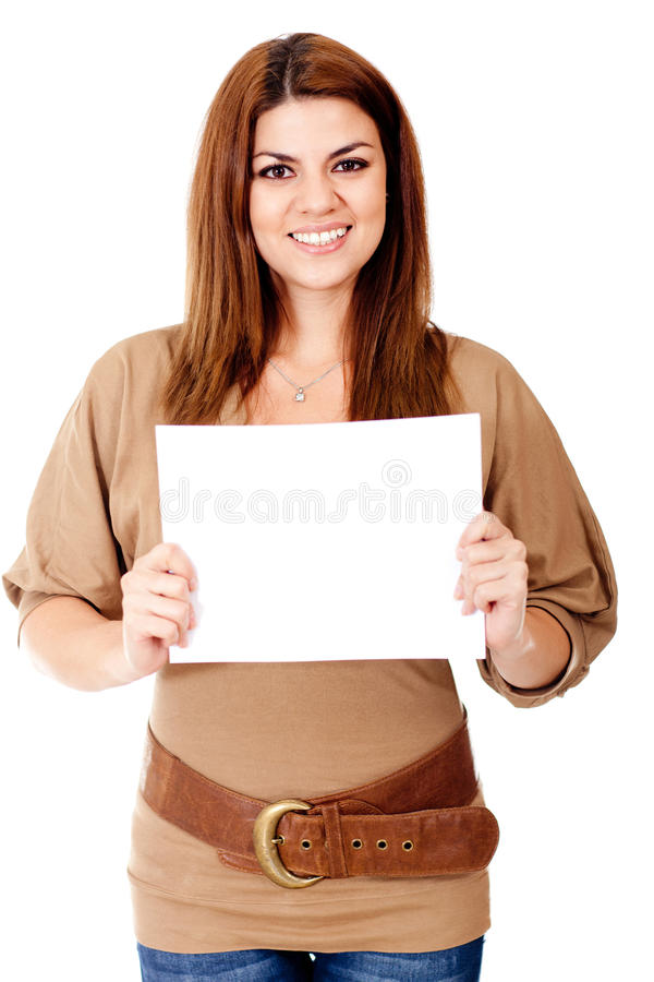 Download Woman holding a banner stock photo. Image of cardboard - 25432996