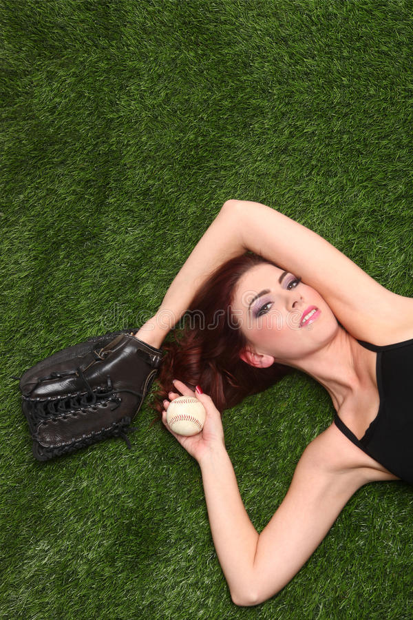 Download Woman Holding Baseball Sports Gear On Grass Stock Image - Image: 29151769