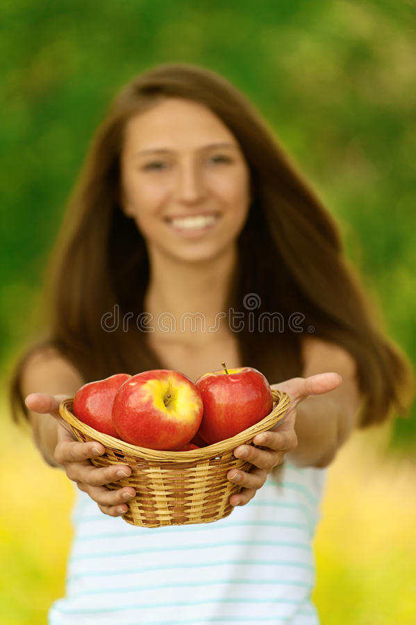 Woman holding basket with apples stock images