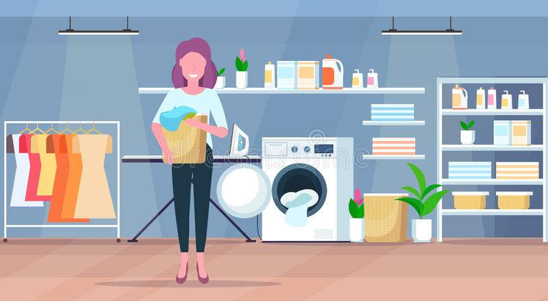 Woman holding basket with dirty clothes housewife doing housework laundry room interior cartoon character full length. Flat horizontal vector illustration stock illustration