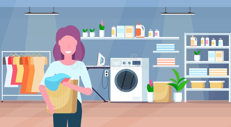 Woman holding basket with dirty clothes housewife doing housework laundry room interior cartoon character portrait flat. Horizontal vector illustration vector illustration