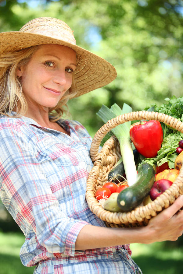 Woman holding basket of vegetables. royalty free stock images