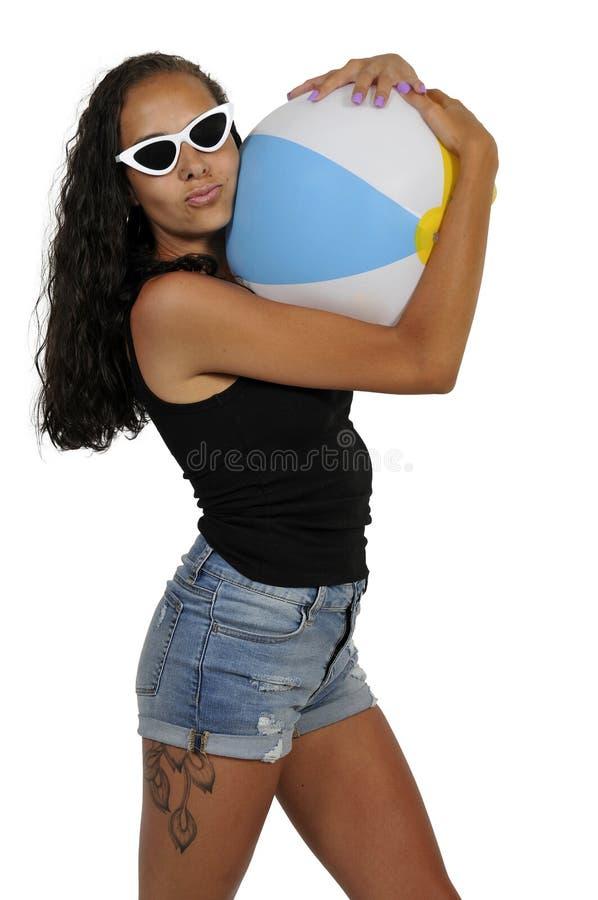 Woman Holding Beach ball royalty free stock image