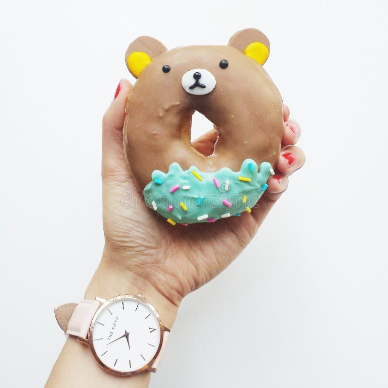 Woman Holding Bear Donut Free Public Domain Cc0 Image