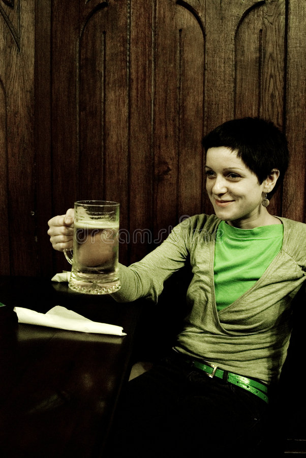 Download Woman holding beer mug stock photo. Image of casual, beer - 3194946