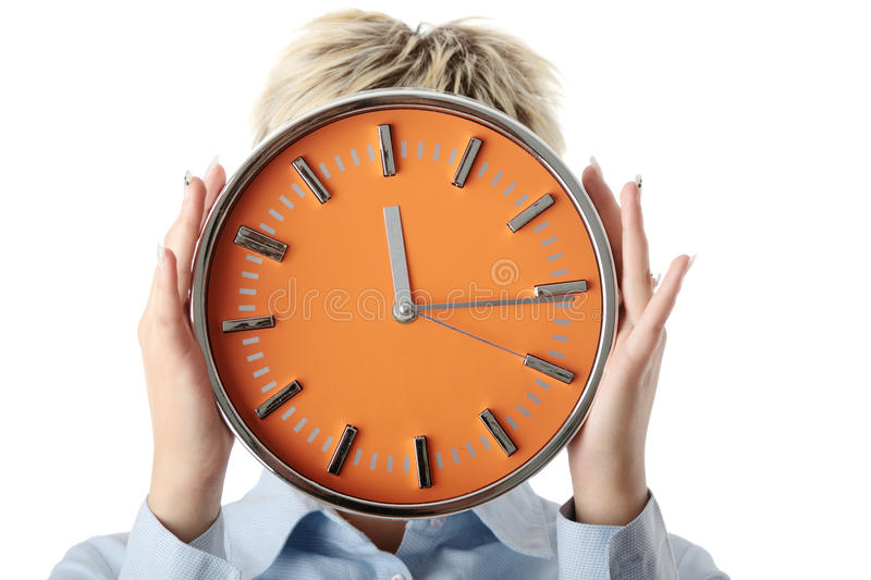 Download Woman Holding Big Alarm Clock Stock Photo - Image: 11862370