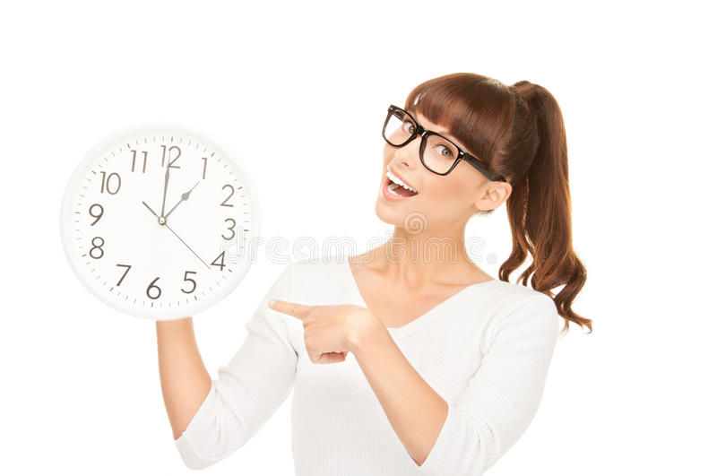Download Woman holding big clock stock photo. Image of cheerful - 41449046