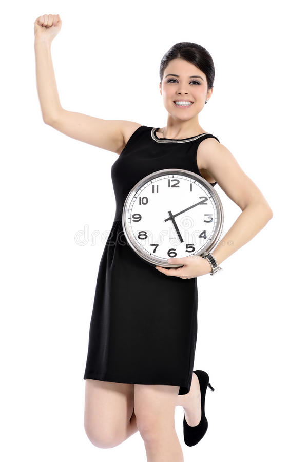 Woman holding big clock. Picture of woman holding big clock over white. let's call it a day, isolated white background stock photo