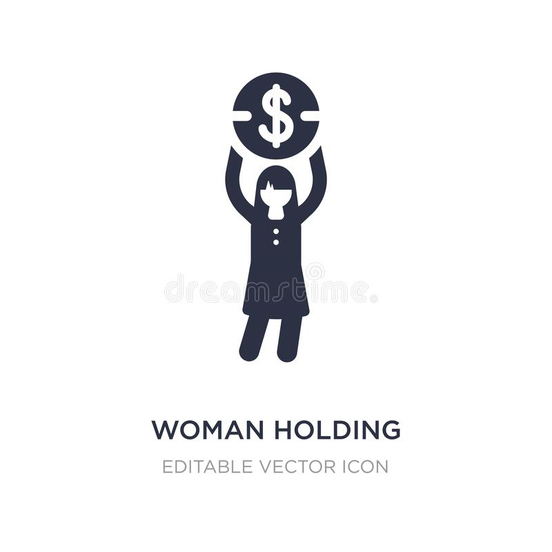 woman holding big coin icon on white background. Simple element illustration from Business concept vector illustration