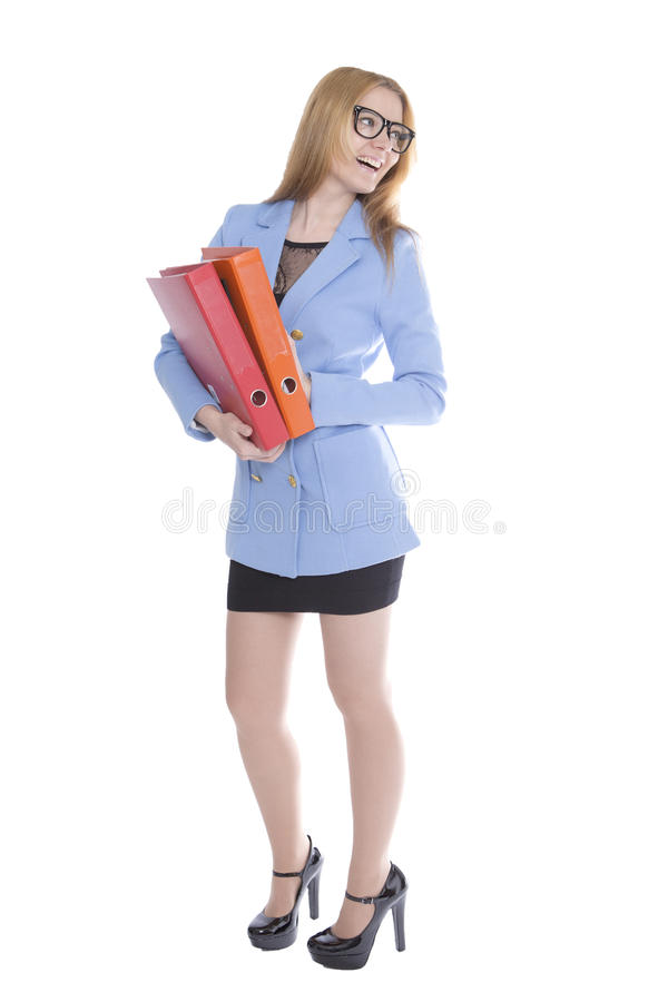 Woman holding binders royalty free stock image